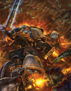 A Deathwatch Kill-team in action (the lady on the right is a Sister of Battle, not a Space Marine). Art by Michael Phillippi; sourced from the Round Tablet.