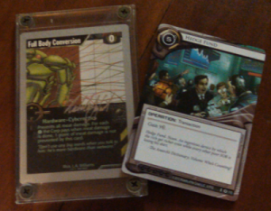 As you can see, old and new Netrunner cards are virtually the same size - why, yes, that is my signed Full Body Conversion. Why do you ask?