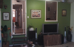 Our living room, prior to the start of repainting work. Not messy, but still busier than we'd like.