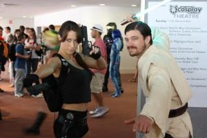 The Vixen Gamer cosplaying Lara Croft at Supanova 2012, with an unidentified cosplayer as Obi Wan Kenobi.