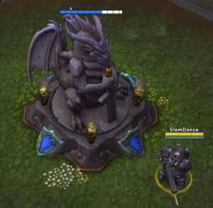 The hero Raynor next to his Core in the Dragon Shire arena.