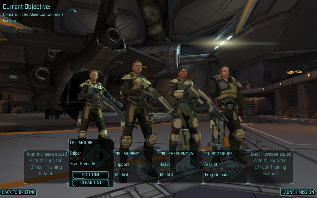 A squad of three female troopers and one male trooper from the game, XCOM: Enemy Unknown. Screenshot from Steam.